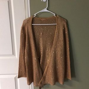 Ellen Tracy gold sweater with sequins